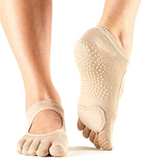 ToeSox Women's Plie Full Toe Grip for Yoga, Pilates, Barre, Dance, Toe Socks With LEATHER PAD 2 Pack