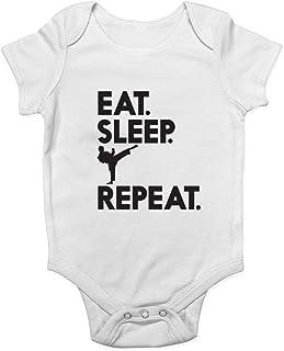Promini süßer Baby-Strampler – Eat Sleep Karate Repeat – Baby-Strampler für Kleinkinder