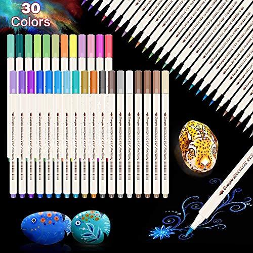 Metallic Marker Stifte, 30 Farben Marker Metallischen Stifte für Steine Scrapbooking, Fotoalbum, Steinmalerei, Schwarzes Papier, Metall, Keramik