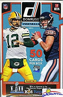 2017 Donruss NFL Football Factory Sealed Hanger Box with 50 Cards! Loaded with Rookies & Inserts! Look for RC's & Autographs of Deshaun Watson, Mitchell Trubisky, Leonard Fournette & Many More!