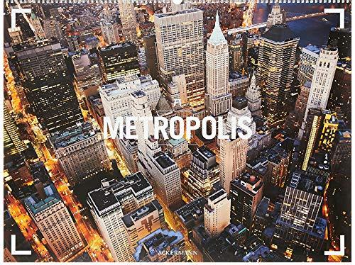 Metropolis - Ackermann Gallery 2019, Wandkalender /Städtekalender mit Luftaufnahmen im Querformat (66x50 cm) - Panorama-Kalender mit Monatskalendarium - Partnerlink