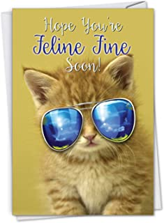 Kool Kitties - Cats in Sunglasses Get Well Soon Greeting Card with Envelope (4.63 x 6.75 Inch) - Cute Pet Kitten Note Card for Kids, Animal Lovers - Cool Cat Feel Better Card C6891AGWG