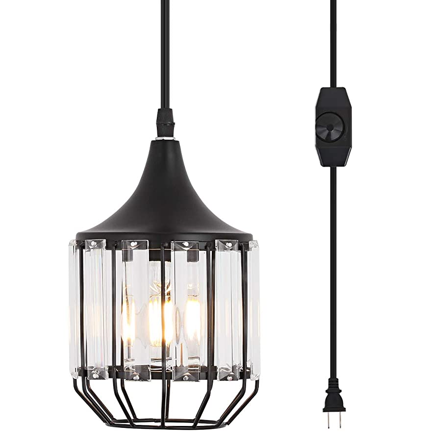 Hanging Lamps Swag Lights Plug in Pendant Light 16 FT Cord and Chain/Hanging Pendant Light Cage in-Line On/Off Dimmer Switch for Kitchen Island, Dining Room, Entryway,Black Metal Finishing