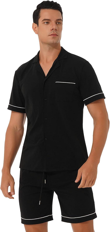 ranrann Men's Short Sleeve Shirt and Shorts 2 Piece Pajamas Set Sleepwear Soft Cotton Lounge Sets