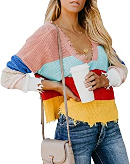 Yacooh Womens Cropped Loose Rainbow Pullover Sweater V Neck Sweaters Blouse
