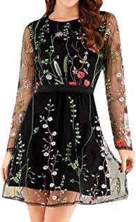 Women's Round Neck Fashion Floral Embroidered Party Dress Lace Mesh Double Layer Mini Dress