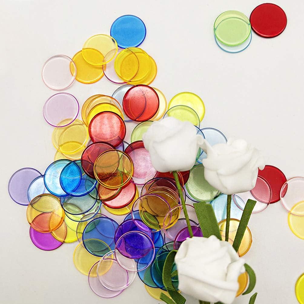 TOYANDONA 500 Marqueurs en Plastique /à Puce de Comptage de Bingo Transparent Transparent Color/é Multicolore
