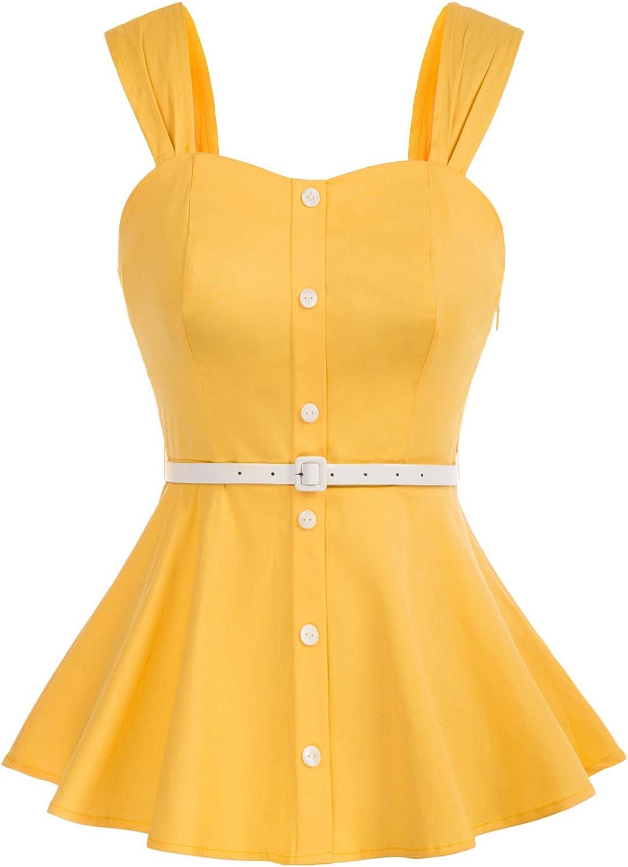 KANCY KOLE Womens Vintage Peplum Blouse Top Boatneck Floral Sleeveless Shirts S-XXL …