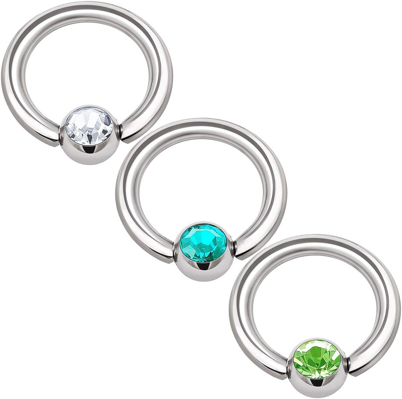 3PCS Stainless Steel Captive Bead Hoop Earrings 16 Gauge 1/4 6mm 3mm Crystal Ball Lobe Helix Tragus Piercing Jewelry 1334