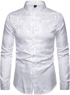 yhuuuuu-dd Men's Luxury Long Sleeve Prom Dress Shirt Casual Satin Wrinkle Free Button Down Tops