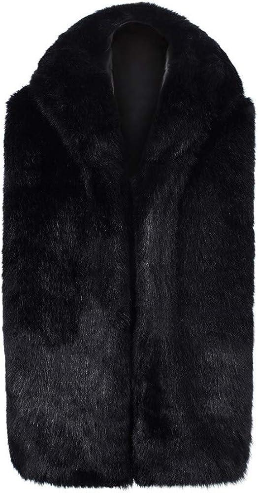 LISTHA Vests Mens Faux Fur Vest Jacket Sleeveless Winter Body Warm Coat Hooded Waistcoat Gilet