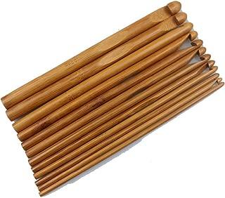 12 Sizes Carbonized Bamboo Handle Crochet Hooks Knit Weave Yarn Craft Knitting Needle FBA