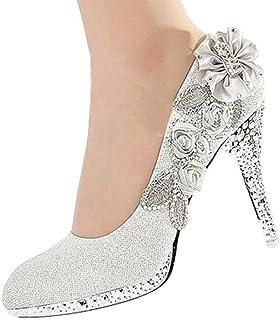 getmorebeauty Women's Silver Lace Flower Pearls Closed...