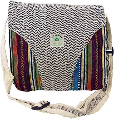GURU SHOP Hanf Schultertasche, Ethno Nepal Tasche - Hanftasche 5, Herren/Damen, Beige, Size:One Size, 30x30x10 cm, Alternative Umhängetasche, Handtasche aus Stoff