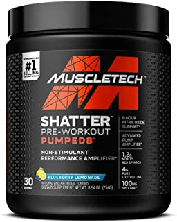 Pre Workout Powder + Nitric Oxide Booster | MuscleTech Shatter Pumped8 | Non Stim Preworkout for Men & Women | 8 Hour Nitr...