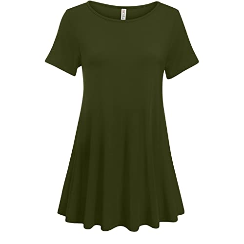 a1bf4f91506 Simlu Womens Short Sleeve Tunic Tops Plus Size and Reg Tunic Shirt for  Leggings - Made