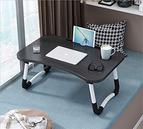 brotherwood House Foldable Bed Study Table Portable Multifunction Laptop Table Lapdesk for Children Bed Foldabe Table Work Office Home with Tablet Slot Cup Holder Bed Study Table Black