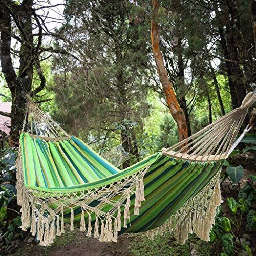 GUOIOOI Hamaca de borlas de algodón para 2 personas antivuelco colorida con flecos perfecta para acampar al aire libre/interior patio trasero (color: B, tamaño: 300 x 150 cm/118 x 59 pulgadas)
