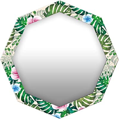 999Store Printed Green Leaves and Flowers Pattern Octagon Mirror (MDF_24X24 Inch_Multi)