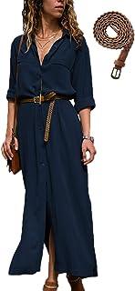 Mujer Vestidos Largos Casual Camiseros Manga Larga Botón Lateral De Hendidura Vestido De Fiesta