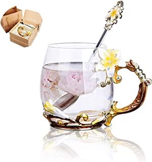 Tea Cup Coffee Mug Cups Clear Glass Made of Glass-Best mothers day gifts,Handmade Lily Flower Glass Coffee Cup(Yellow)