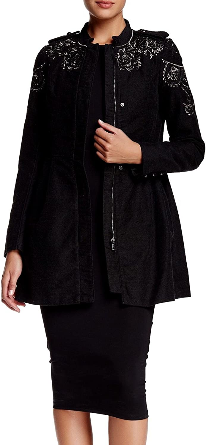 Free People StandCollar Embroidered Embellished Sergeant Coat