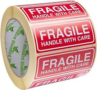 250 AufkleberZerbrechlich. Fragile Aufkleber 90 x 35 MM Groß Etiketten, weiß-rot-250 Stück