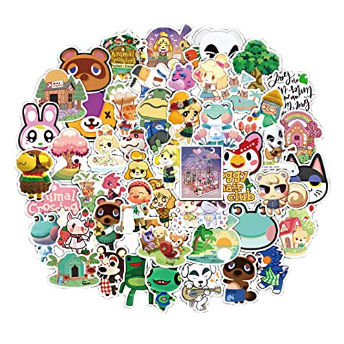 FENGLING Game Animal Crossing Cartoon Animation Sticker Forcomputer Motorcycle Skateboard Guitar Toy Game Machine Children Gift 50 PCS