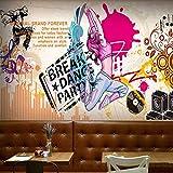 YIERLIFE 3D Tela no tejida Mural de papel pintado Pared - Color street dance music graffiti girl - 3D Papel Pintado Pared Fotomurales Tejido No Tejido Foto Mural Moderna Diseño Murales Fotográfico Pós