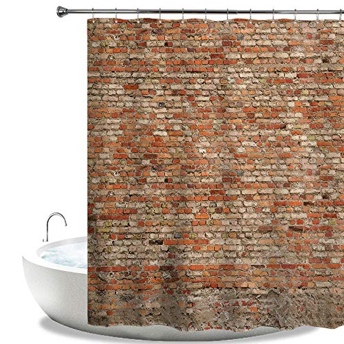 HIYOO Bathroom Wall Design Shower Curtain with Hooks, Bathtub Decorative Art Bath Curtain, Waterproof Polyester Fabric and No Need Liner 60x72 Inches - Old Red Brick Wall