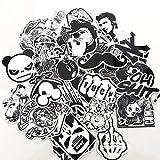 Ourine 50 Piezas Pegatinas Impermeables extraíbles de Dibujos Animados en Blanco y Negro para la Maleta del Coche Calcomanía del teléfono de la Bicicleta como se Muestra