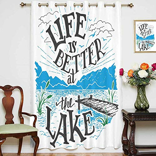 Blackout Shading Curtains Life is Better at The Lake Wooden Pier Plants Mountains Outdoors Sketch Decorative Grommet Top Thermal Insulated Curtain for Home Decor,1 Panel,42' x 84',Blue Black Green