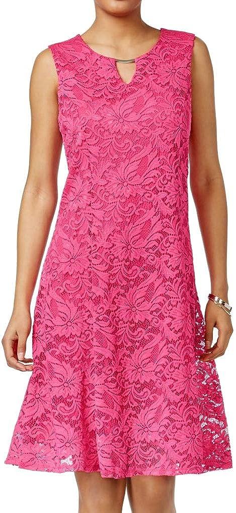 JM Collection Womens Petites Floral Lace A-Line Party Dress