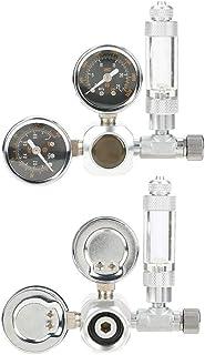 CO2 レギュレーター 水族館 CO2レギュレーター 圧力計 デュアルディスプレイデザイン 簡単インストール 苔植物 超精密 CO2水槽レギュレータ ステンレス鋼 アルミ合金 シルバー (W21.8)