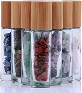 10ml Roll On Bottle For Essential Oils,10 Pack Clear Glass Roller Bottles With Natural Crystal Gemstone Roller Balls Top,B...