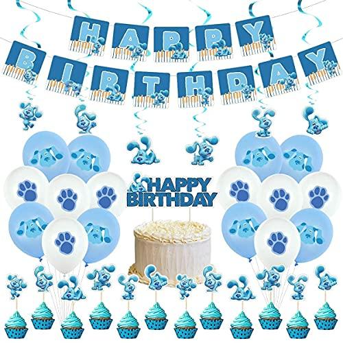 HASAKA 36 piezas de blues pistas de cumpleaños, suministros para fiestas temáticas, decoración en espiral, decoración de tartas