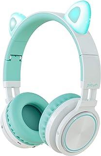 Picun Katzenohren Bluetooth Kopfhörer Kabellos Klappbare Cat Ears Over Ear Headsets mit Mikrofon LED Licht für Jungen, Mädchen   Minzgrün