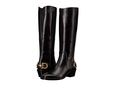 Salvatore Ferragamo Uda Riding Boot (Nero Pony) Women