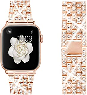 Dsytom Bing Band Compatible with Apple Watch Band 38mm 40mm 42mm 44mm,Jewelry Replacement Metal Wristband Strap for iWatch Band Series 5/4/3/2/1(Rose Gold) …