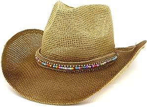 2019 Women Womens Straw Cowboy Hat Sun Hat for Women Outdoor Beach Hat Fashion Straw Hat Men Lady Visor Paint Denim Color Woven Rope Elegant Sunscreen (Color : 2, Size : 56-58CM)