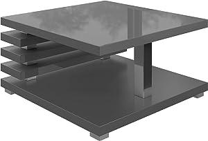 Tavolino Da Caffè Tavolino Da Salotto Tavolo Oslo 60 x 60 CM Lucida Grigio