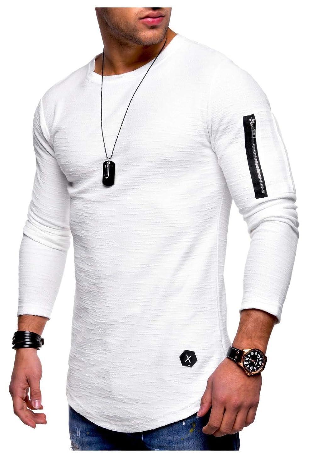 有名電池どこか[パリド] 薄手 アームジッパー ロンT スウェット Tシャツ 長袖 カットソー スリム フィット メンズ S ~ 4XL