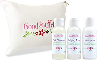 Good For You Girls Three-Step Skincare Kit for Teens, Preteens and Kids who are just starting a regimen, with Natural and Organic Ingredients, All Skin Types, Sulfate Free, Paraben Free, Vegan