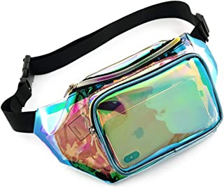 Holographic Fanny Pack, Veckle Clear Fanny Pack Shiny Neon Transparent iridescent Fanny Pack for Women