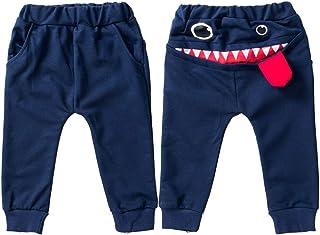WanXingY, Las Polainas del bebé Suelta de algodón Ropa Deportiva for niños de 0-4 años de niño Bebé Grande de la Boca del Monstruo de impresión Pantalones (Color : Dark Blue, Size : 12M)