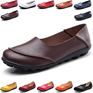 Hishoes Womens Leather Loafers & Slip-Ons Flats Driving Walking Casual Moccasins Soft Sole Shoes