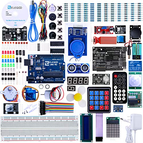 ELEGOO Upgraded UNO R3 Project Most Complete Starter Kit w/Tutorial Compatible with Arduino IDE (63 Items) V2.0
