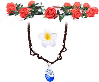 WMAO Moana-Necklace Hair Flower Clip and Necklace Set, | Cosplay Children Adults Kids Toys Princess Doll Birthday Party Supplies for Girl Gift