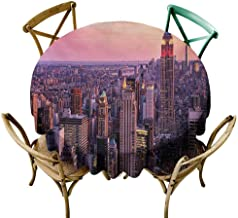 W Machine Sky Wrinkle Free Tablecloths Cityscape,New York City Midtown with Empire State Building Sunset Business Center Rooftop Photo,Peach Diameter 70
