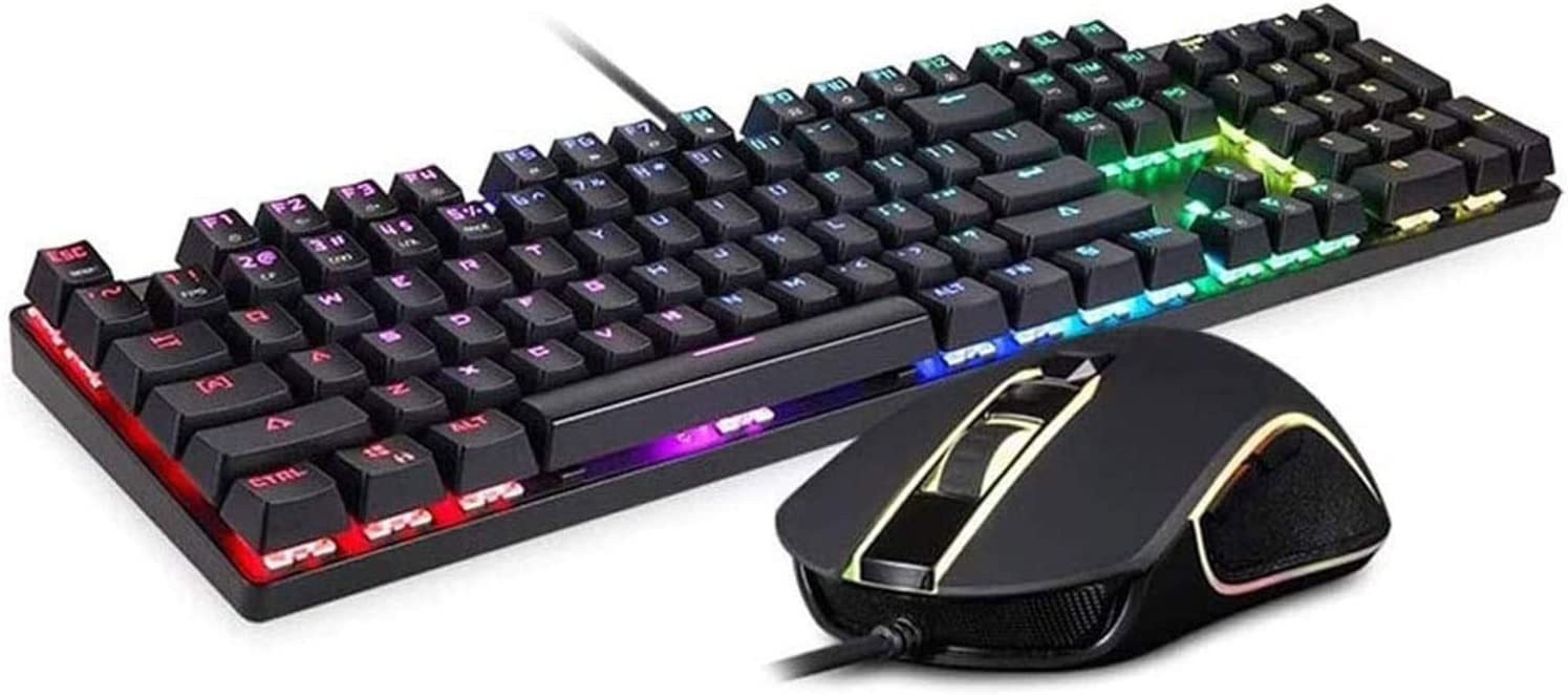 KDLYQ RGB Gaming Keyboard and Backlit Mouse Combo, USB Wired Backlit Keyboard, LED Gaming Keyboard Mouse Set for Laptop PC Computer Game and Work